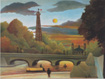 Seine and Eiffel Tower at Sunset by Henri Rousseau