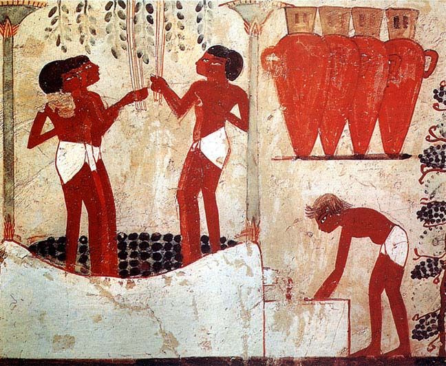 Egypt, Thebes, Sheikh Abd el-Qurna, frescoes from Nakht's tomb; detail of grape picking,